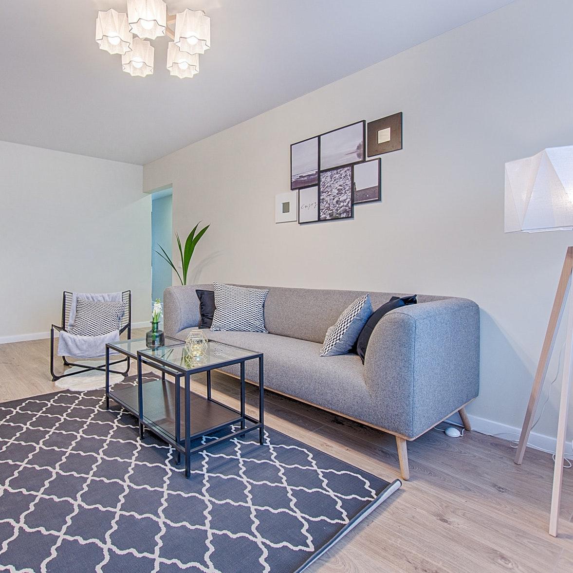 Wohnzimmer mit Teppich und grauem Parkett